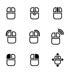 black computer mouse icon set vector image vector image