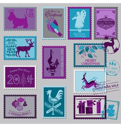 Christmas Postage Stamps vector image vector image