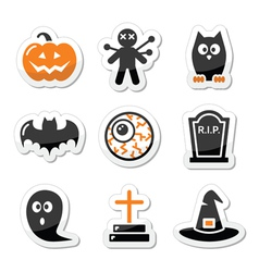 Halloween black icons set as labels vector image vector image