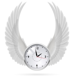 White clock White wings vector image vector image