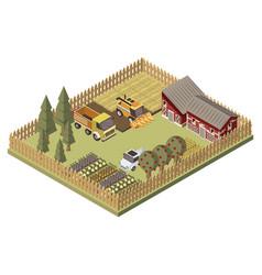 farm vehicles isometric design vector image vector image