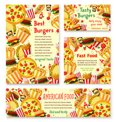 Fast food restaurant menu posters vector