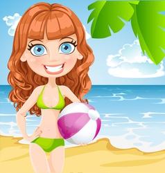 Girl with an inflatable ball on sunny beach vector image
