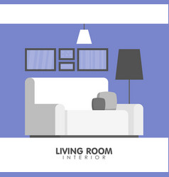 Modern living room interior design icon vector