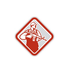 Soldier serviceman military assault rifle shield vector