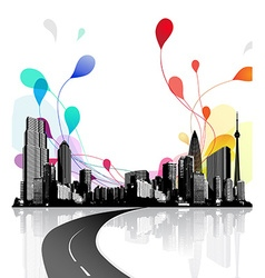 Abstract sky with city scape vector image vector image