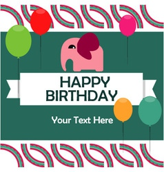 Birthday card with cute elephant vector image vector image
