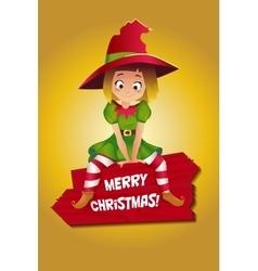Girl in suit of Christmas elf vector image