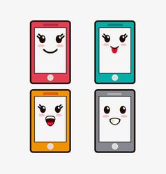 kawaii smartphone emoticons image vector image