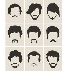 Set of hairmustachebeard silhouettes vector image vector image