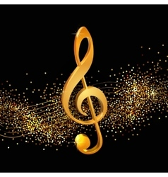 Treble clef golden vector image