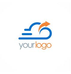 cloud upload technology logo vector image vector image
