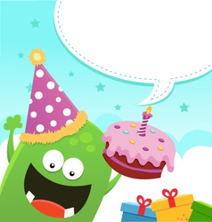 Monster Birthday Message vector image vector image