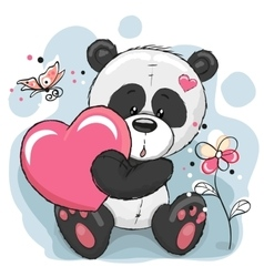 Panda with heart vector image vector image