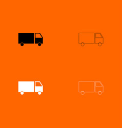 truck black and white set icon vector image