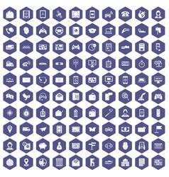 100 telephone icons hexagon purple vector