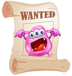 A pink monster in a wanted poster vector image