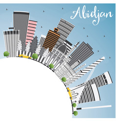 Abidjan skyline with gray buildings blue sky and vector