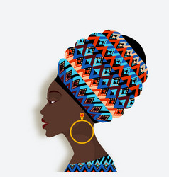 african woman in scarf and earrings in profile vector image