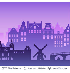 Amsterdam famous city scape vector