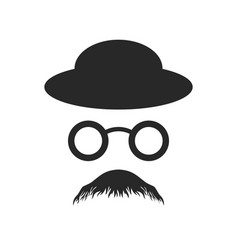 Anonymous profile old style glasses hat design vector