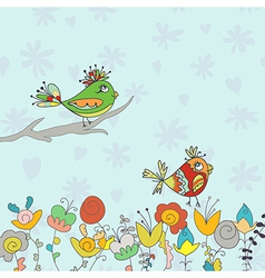 background with flower and bird vector image