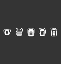 backpack icon set grey vector image