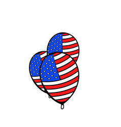 balloons in the usa flag colors icon cartoon vector image