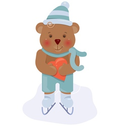bear and heart vector image