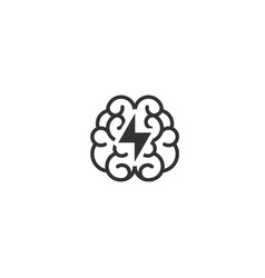 black brain with lightning bolt icon intellect vector image