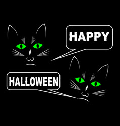 black cats on black background wishing happy vector image
