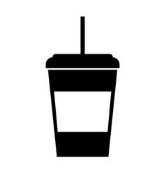 Black icon disposable coffee cup vector