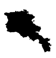 Black silhouette country borders map of armenia vector