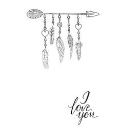 Boho elements with feathers arrow vector