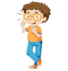 Boy with eyeglasses with orange frame vector
