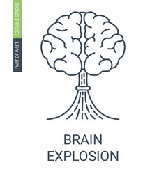 brain with a shape of atomic explosion icon vector image