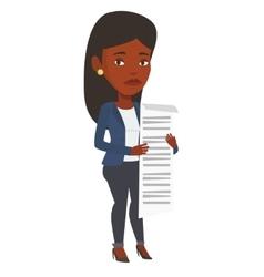 Business woman holding long bill vector