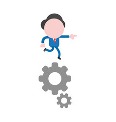 businessman character running on gears and vector image