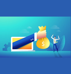 businessman hand give reward online from laptop vector image