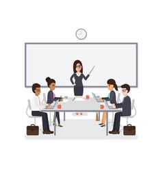 businessmen and businesswomen meeting vector image
