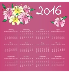 Calendar 2016 with with lily flowers on lilac vector