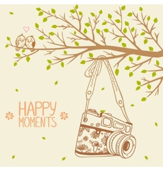 Camera and tree vector
