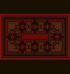 Carpet with oriental ornament in red and brown vector