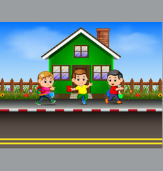 Children going to school vector