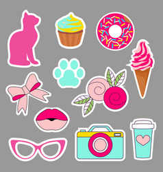Collor sticers for girls and kids vector