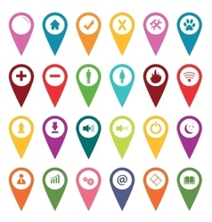 Colored map markers icon set vector
