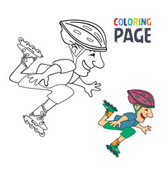 coloring page with roller skates player cartoon vector image
