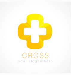 cross orange logo vector image