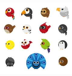 Cute Animals Set of Birds icon vector