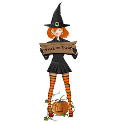 cute girl in a witch costume holding a sign vector image